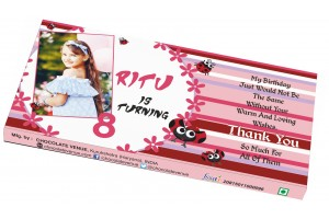Birthday Return Gift -Customized Chocolate Bar Wrapper Pink Theme