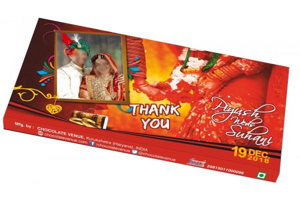 Wedding Return Gift - Customized Chocolate Bar Wrapper -Red Theme
