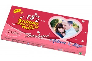 Wedding Anniversary Return Gift-Customized Chocolate Bar Wrapper Pink