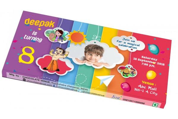 Birthday Invitations-Customized Chocolate Wrapper (Chota Bheem Theme)