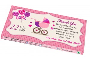 Baby Girl Birth Announcement Return Gift - Customized Chocolate Bar Wrapper