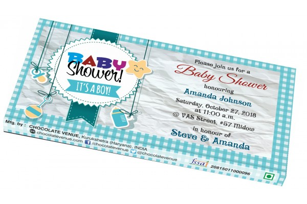 Baby Boy Birth Announcement Invitation - Customized Chocolate Bar Wrapper