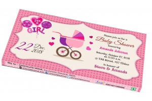 Baby Girl Birth Announcement Invitation - Customized Chocolate Bar Wrapper