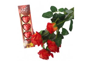 luxury Pack of Heart Shape Chocolates and Flower