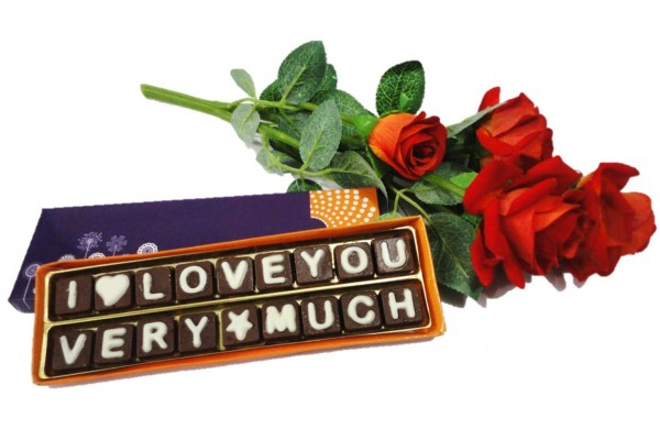 I Love You Very Much Chocolate Message with Flower