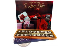 Valentine Day I Love You Very Much Chocolate Message with Greeting Card