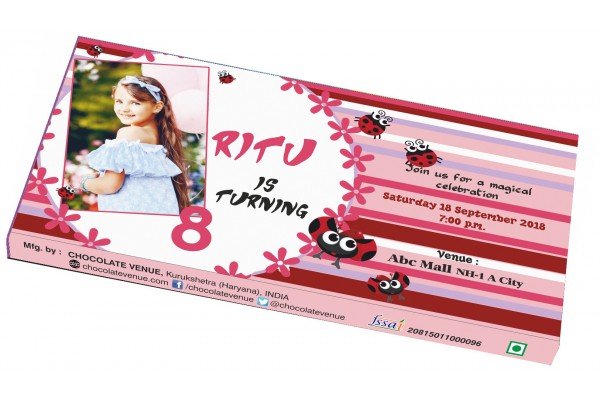 Birthday Invitations-Customized Chocolate Bar Wrapper Pink Theme