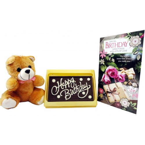 happy birthday chocolate bar with cute teddy and greeting card