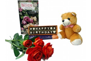 Happy Birthday Chocolate Message with Flowers,Card and a Cute Teddy