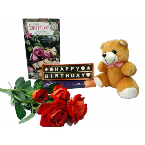 Happy Birthday Chocolate Message With Flowerscard And A Cute Teddy