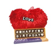 Happy Birthday Chocolate Message with Heart Shape Soft Toy