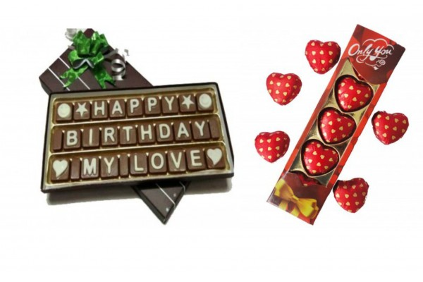 Happy Birthday Chocolate Message with Heart Chocolate Pack