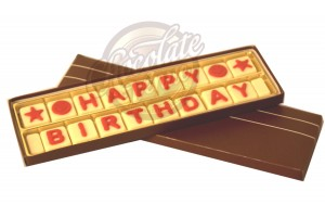 Happy Birthday Chocolate Message (White & Red Chocolate)