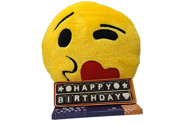 Birthday Chocolate Message with Stuffed Kissing Smiley Cushion