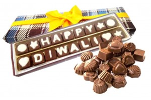Happy Diwali Chocolate Message with Assorted Flavored Chocolate Pack - 20 Variety