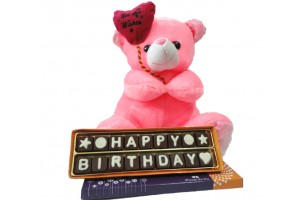 Happy Birthday Chocolate Message with Cute Teddy Bear