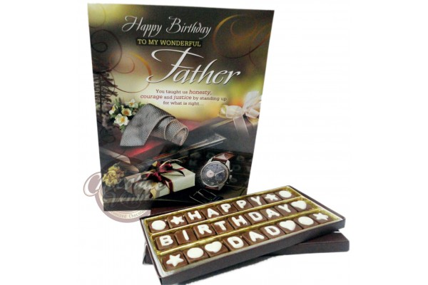 Happy Birthday DAD Chocolate Message With Lovely Greeting Card