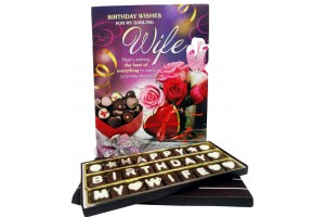 Elegant Happy Birthday My Wife Chocolate Message with Greeting Card