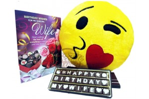Super Sweet Kissing Cushion with Birthday Chocolate Message and Greeting Card