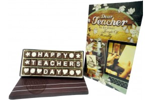 Delightful Happy Teachers Day Chocolate Message with Greeting Card