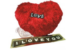 Wavy I Love You Chocolate Message with Heart Shape Pillow
