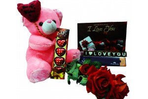 I Love You Chocolate Message with Cute Teddy ,Flower,Heart Chocolates and Greeting Card - Jumbo Combo
