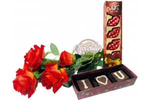 Romantic Chocolate Message with Flowers and Kissing Chocolate