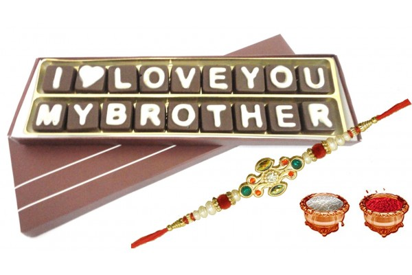I Love You My Brother Chocolate Message With Rakhi & Tilak