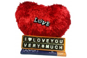 I Love You Very Much Chocolate Message with Heart Shape Soft Toy