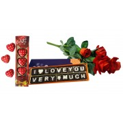 Love Chocolate Message with Rose Flower and Heart Chocolates