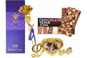 Fruit and Nut Overload Chocolate Bar with 24K Artificial Golden Rose with Photo Frame Stand in Box and Carry Bag