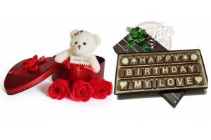 Birthday Gift for Love - Happy Birthday My Love Chocolate Message with Red Heart Shape Tin Box with Flower and Teddy