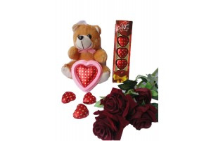 Heart Chocolate with Teddy Gift and Flower - Sweet Gift for Valentine,Birthday,Anniversary