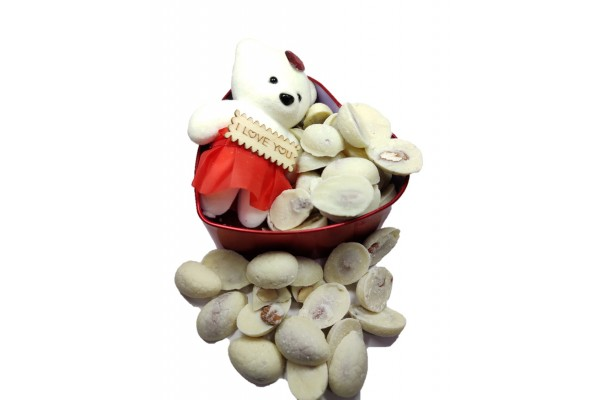 White Choco Almonds - Gift for Valentines Day,Anniversary and Birthday
