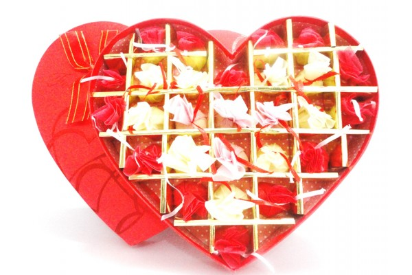 A Sweet Heart Box Filled with the Assorted Chocolates