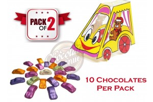 Gift for Kids - Car Shape Chocolates in Plastic Car Packing (Pack of 2)
