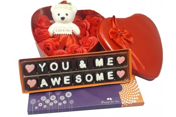 Love Chocolate Message with Beautiful Heart Shape Metal Box