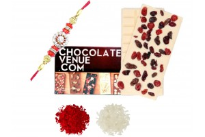 Delicious Cranberry White Chocolate Bar with Rakhi and Tilak