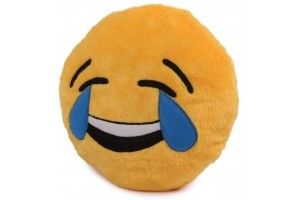 Cute Yellow Laughing Tear Smiley Cushion