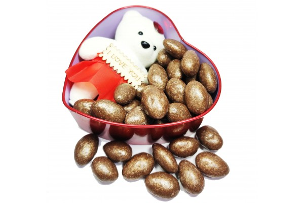 Heart Shaped Chocolate Box with Milk Chocolate Golden Almonds with Cute Teddy Bear