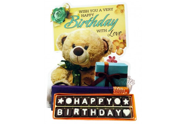 Wonderful Happy Birthday Chocolate Message with Big 4 -Fold Greeting Card