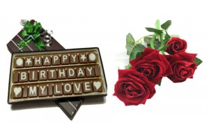 Birthday Chocolate Message with Artificial Red Velvety Rose