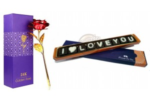 I Love You Chocolate with Artificial Red Golden Rose