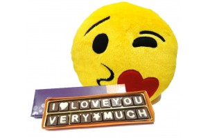I Love You Very Much Chocolate Message with Kissing Smiley Cushion