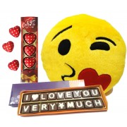 Love You Very Much Chocolate Message with Heart Shape Chocolate Pack and Smiley Cushion