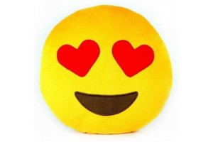 Yellow Love Heart Eyes Smiley Cushion
