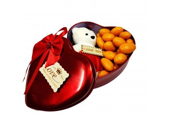 Unique Chocolate Gift - Orange Chocolate Almonds with Teddy