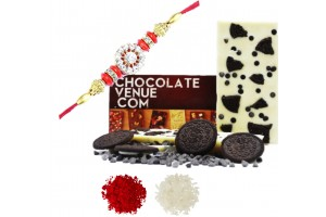 Oreo White Chocolate Bar With Rakhi and Tilak