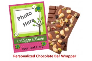 Rakhi Special Dry Fruit Chocolate Bars - Personalized Wrappers for Sister