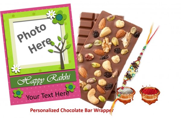 Rakhi Special Dry Fruit Chocolate Bars with Rakhi - Personalized Wrappers for Brother